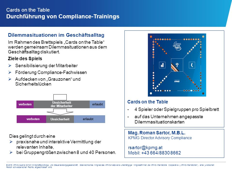 Cards on the Table Durchführung von Compliance-Trainings