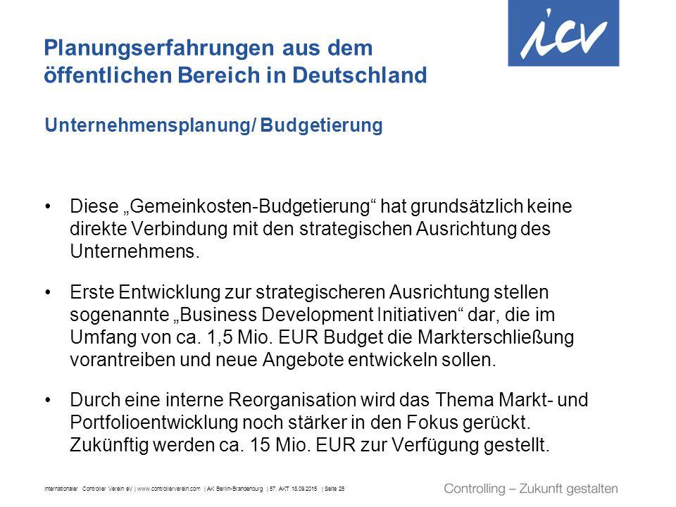 Planungserfahrungen aus dem öffentlichen Bereich in Deutschland