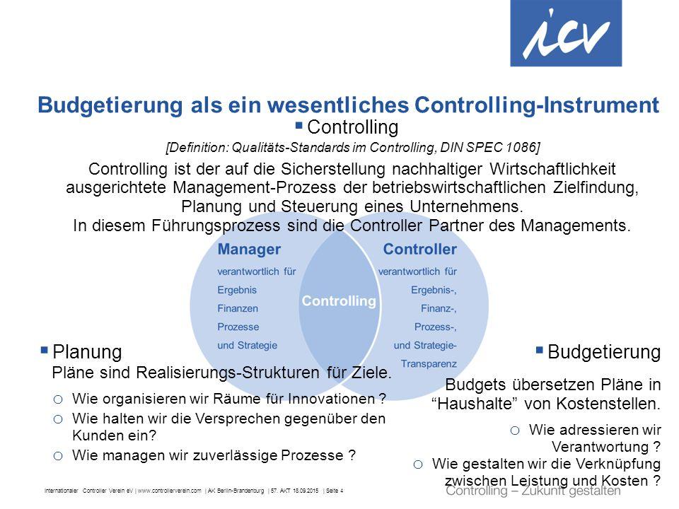 Budgetierung als ein wesentliches Controlling-Instrument