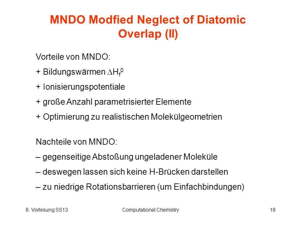 MNDO Modfied Neglect of Diatomic Overlap (II)