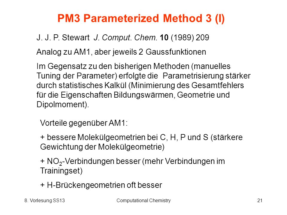 PM3 Parameterized Method 3 (I)