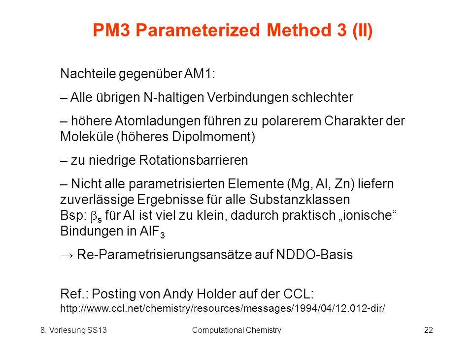 PM3 Parameterized Method 3 (II)