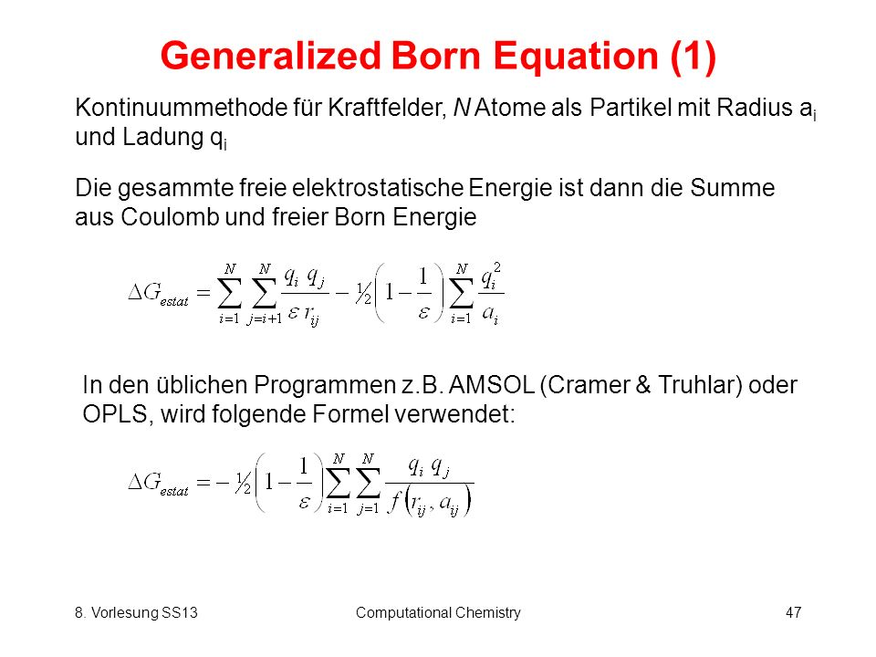 Generalized Born Equation (1)