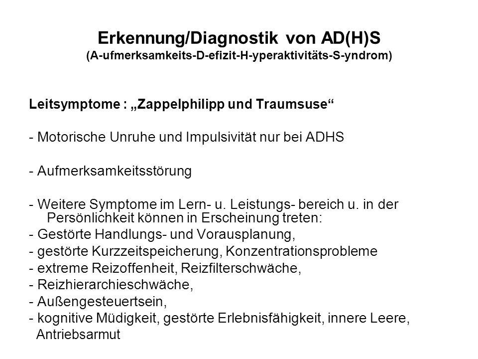 Erkennung/Diagnostik von AD(H)S (A-ufmerksamkeits-D-efizit-H-yperaktivitäts-S-yndrom)