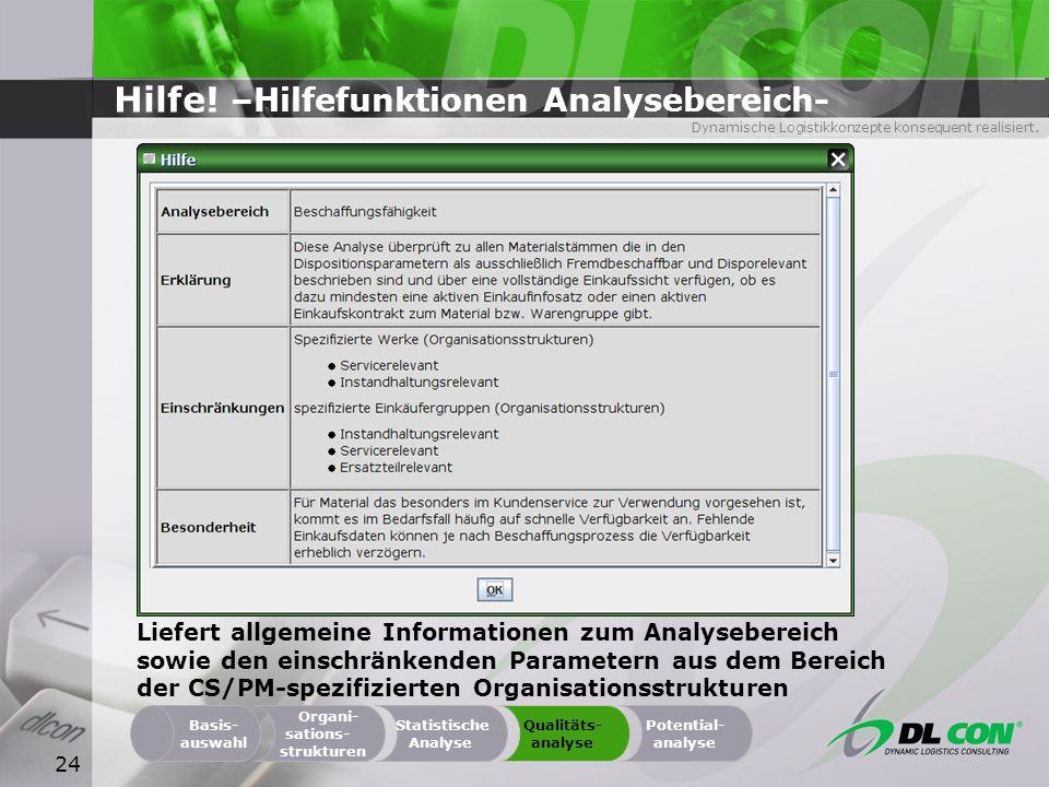 Hilfe! –Hilfefunktionen Analysebereich-