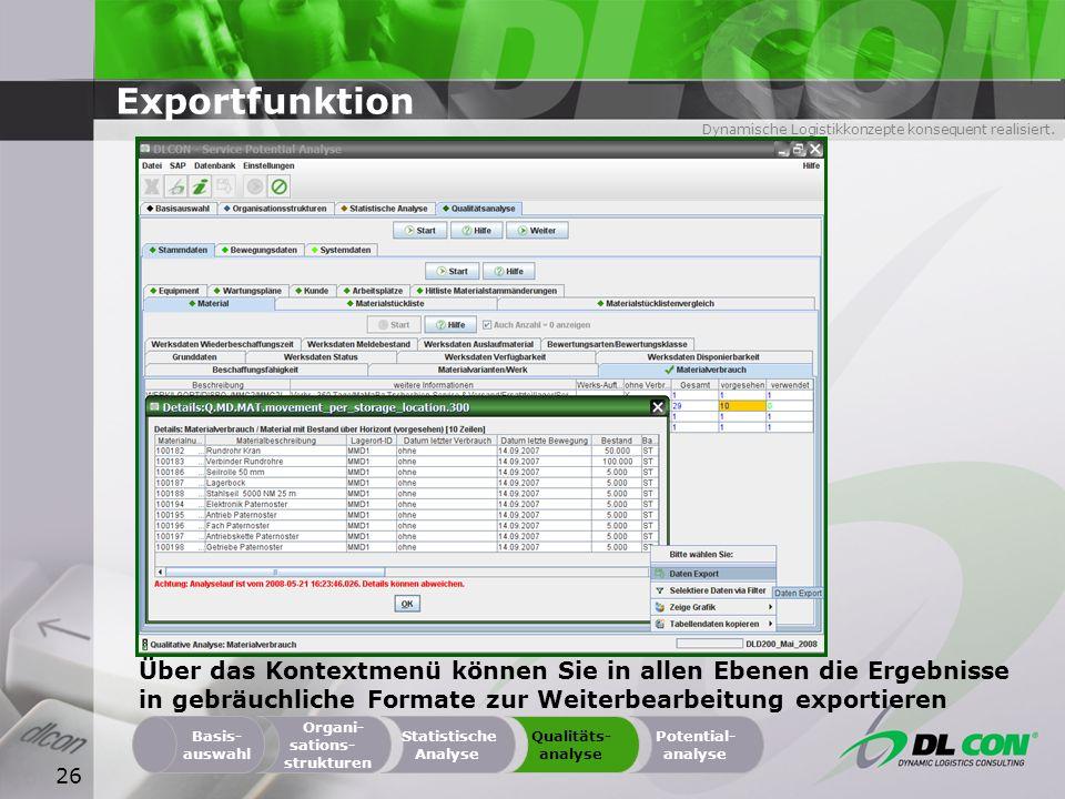 ExportfunktionÜber das Kontextmenü können Sie in allen Ebenen die Ergebnisse in gebräuchliche Formate zur Weiterbearbeitung exportieren.