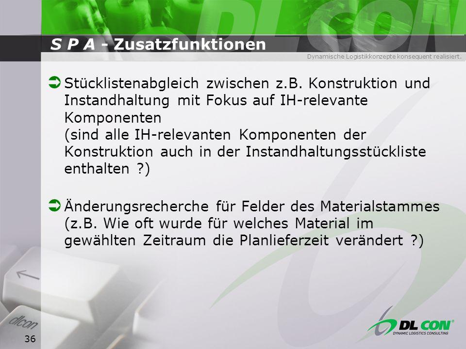 S P A - Zusatzfunktionen