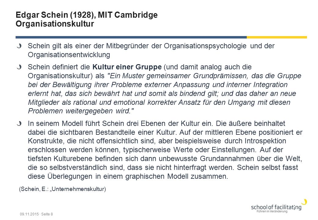Edgar Schein (1928), MIT Cambridge Organisationskultur