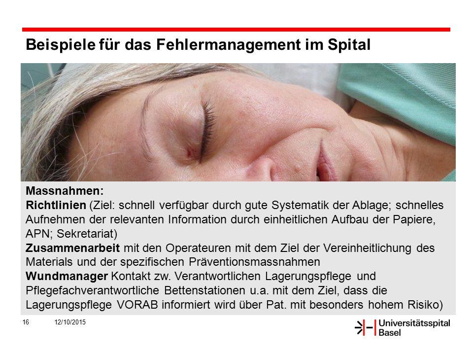 Beispiele für das Fehlermanagement im Spital