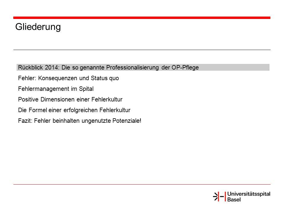 Gliederung Rückblick 2014: Die so genannte Professionalisierung der OP-Pflege. Fehler: Konsequenzen und Status quo.