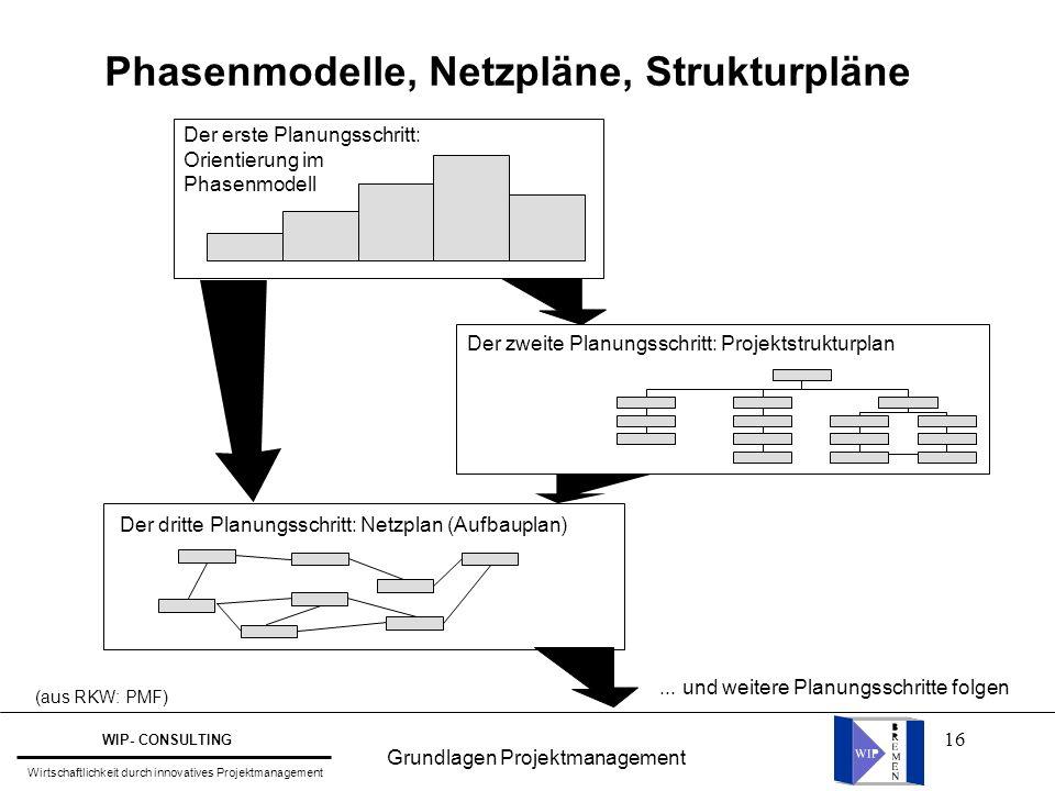 Phasenmodelle, Netzpläne, Strukturpläne