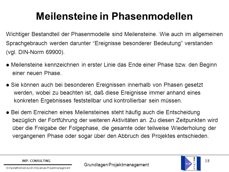 Meilensteine in Phasenmodellen