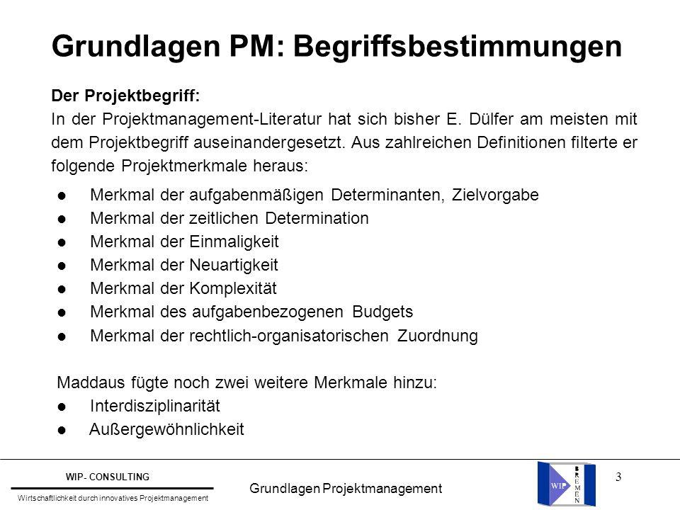 Grundlagen PM: Begriffsbestimmungen