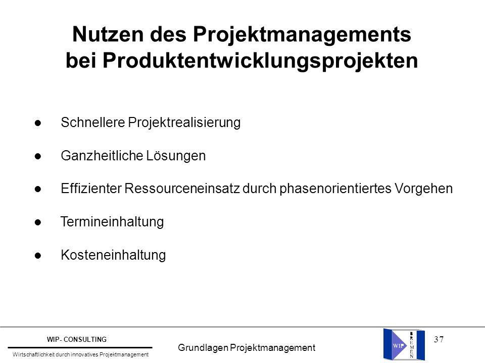 Nutzen des Projektmanagements bei Produktentwicklungsprojekten