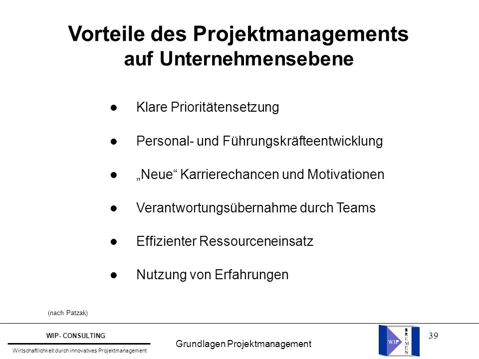 Vorteile des Projektmanagements auf Unternehmensebene