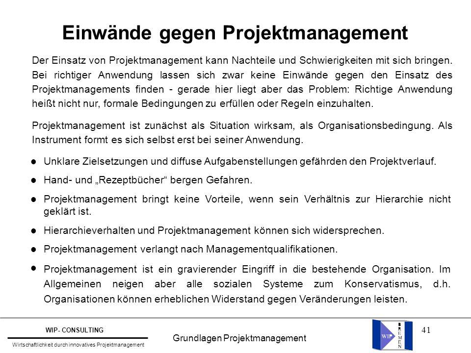 Einwände gegen Projektmanagement