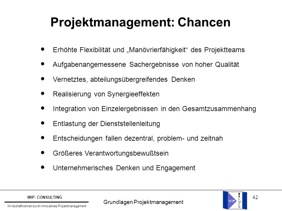 Projektmanagement: Chancen