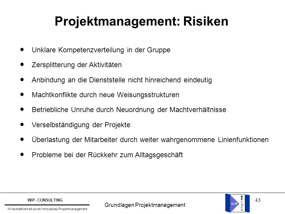 Projektmanagement: Risiken