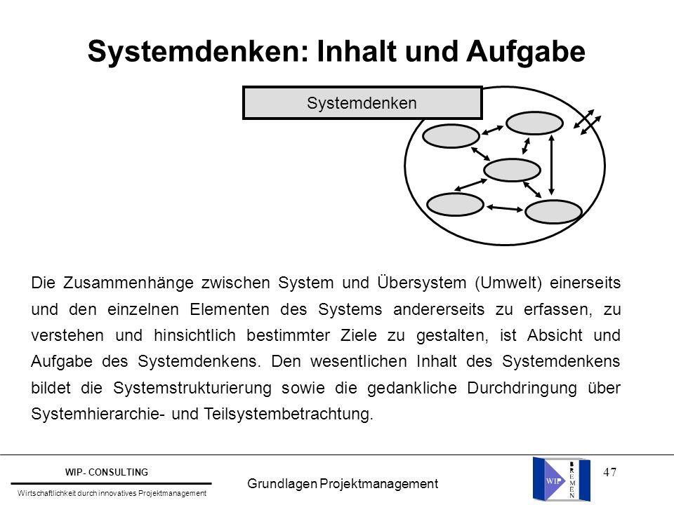 Systemdenken: Inhalt und Aufgabe