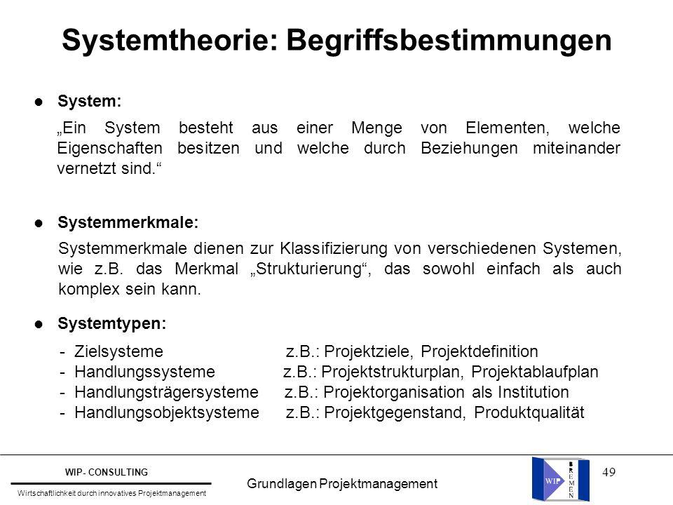 Systemtheorie: Begriffsbestimmungen