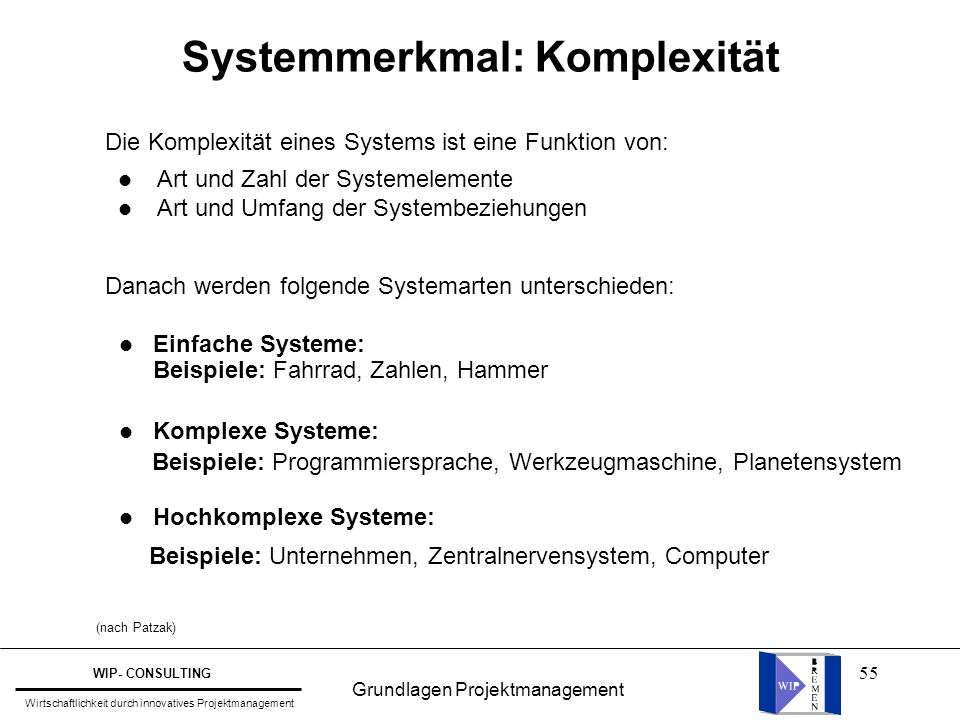 Systemmerkmal: Komplexität