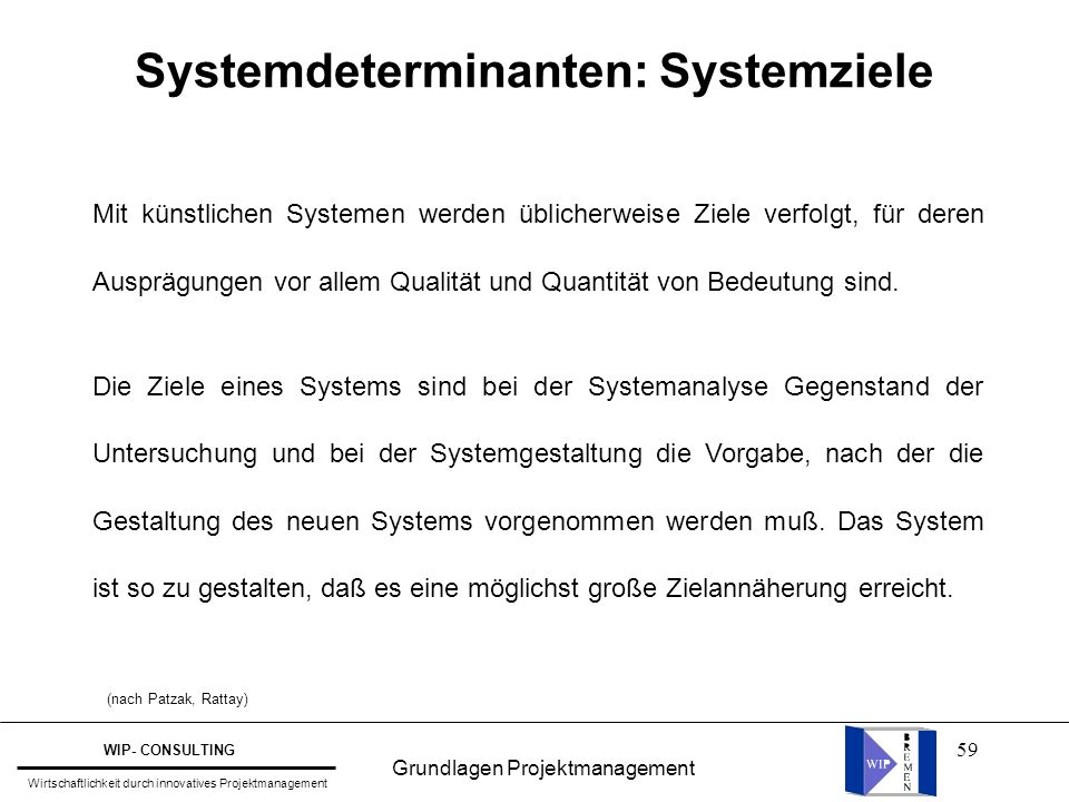 Systemdeterminanten: Systemziele