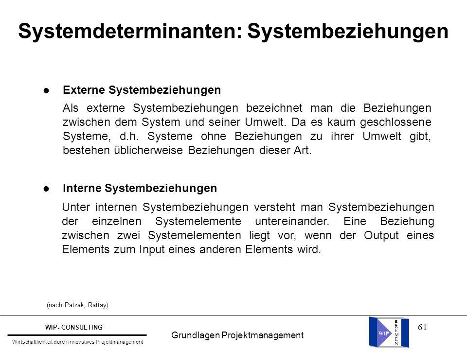 Systemdeterminanten: Systembeziehungen