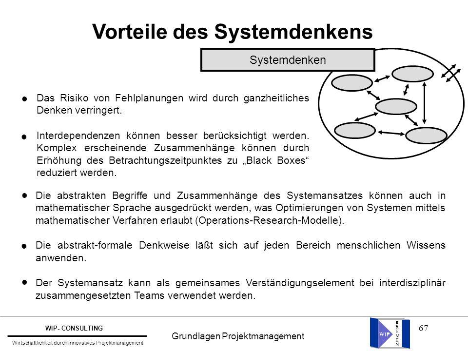 Vorteile des Systemdenkens