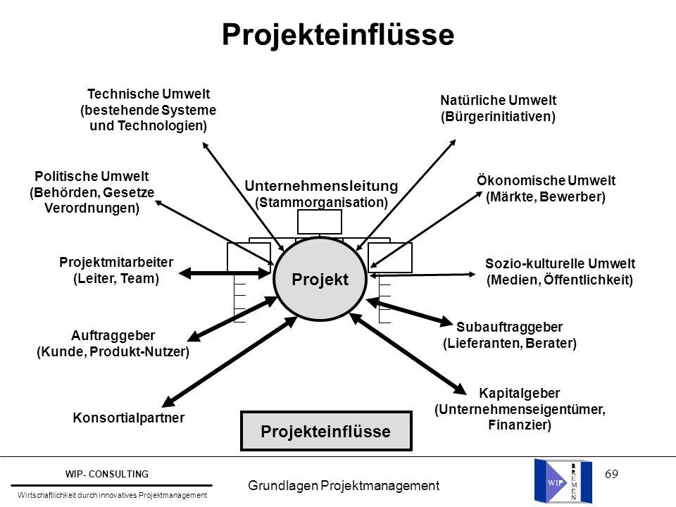 Projekteinflüsse Projekt Projekteinflüsse Unternehmensleitung