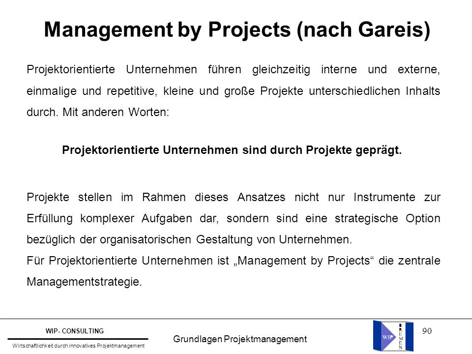Management by Projects (nach Gareis)