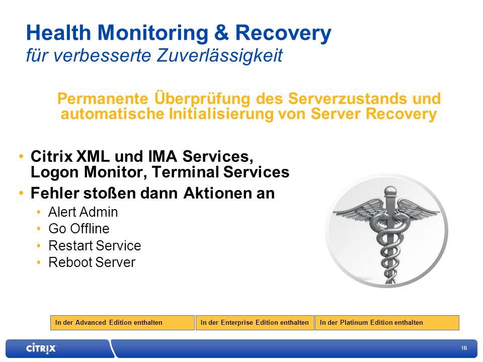 Health Monitoring & Recovery für verbesserte Zuverlässigkeit