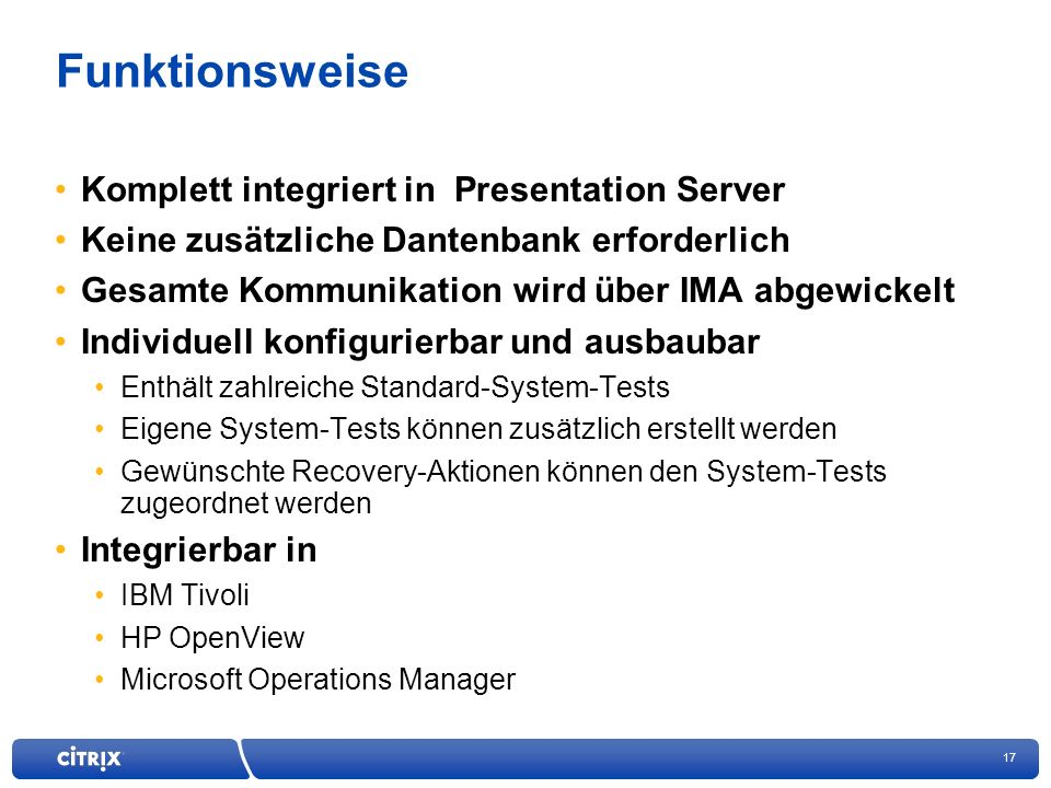 Funktionsweise Komplett integriert in Presentation Server
