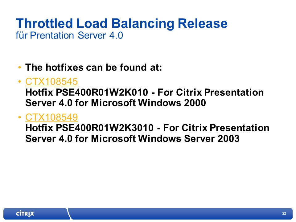 Throttled Load Balancing Release für Prentation Server 4.0