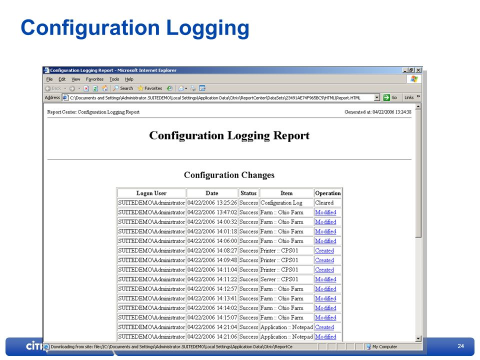 Configuration Logging