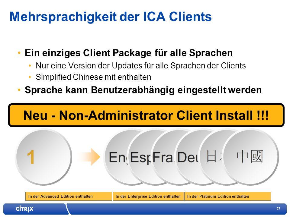 Mehrsprachigkeit der ICA Clients