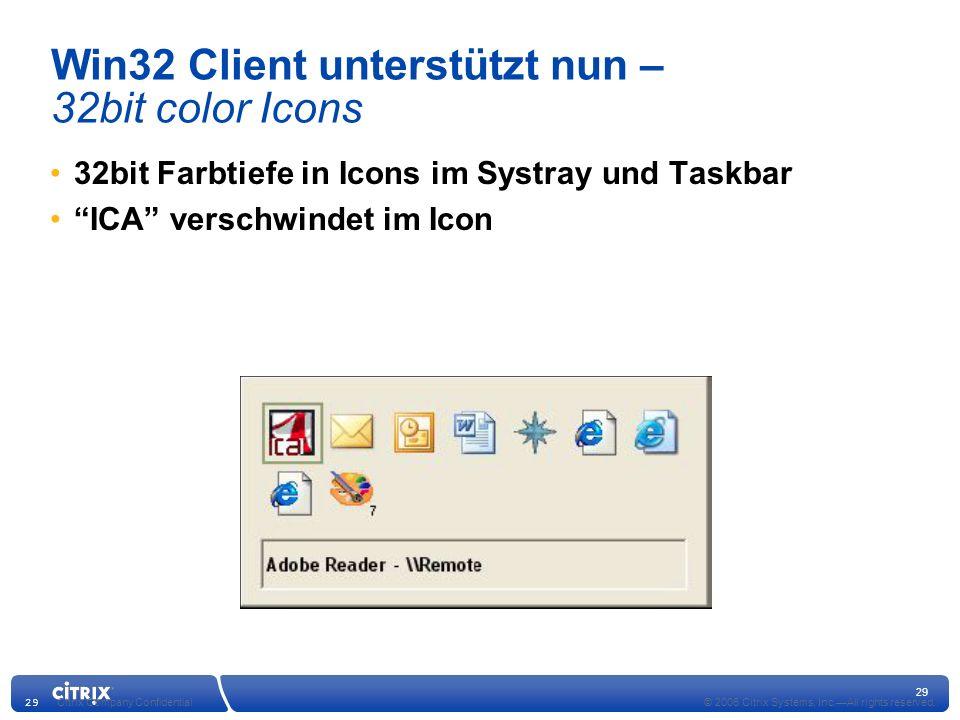 Win32 Client unterstützt nun – 32bit color Icons
