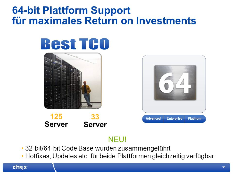 64-bit Plattform Support für maximales Return on Investments
