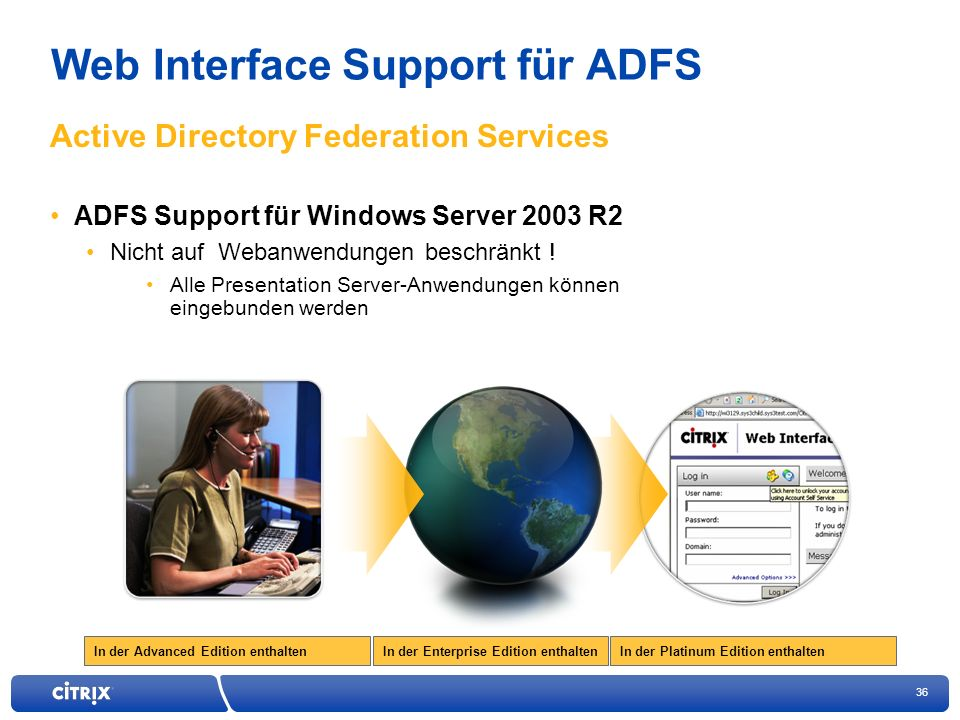 Web Interface Support für ADFS