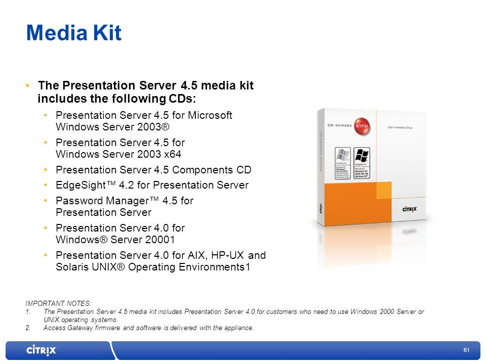 Media Kit The Presentation Server 4.5 media kit includes the following CDs: Presentation Server 4.5 for Microsoft Windows Server 2003®