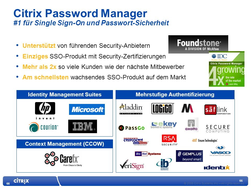 Citrix Password Manager #1 für Single Sign-On und Passwort-Sicherheit