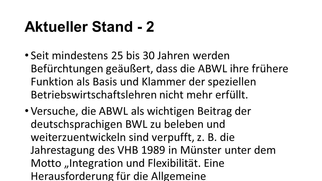Aktueller Stand - 2