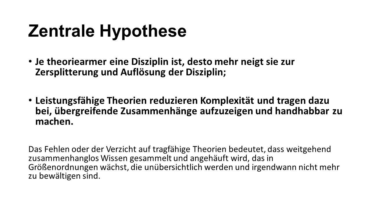 Zentrale Hypothese Je theoriearmer eine Disziplin ist, desto mehr neigt sie zur Zersplitterung und Auflösung der Disziplin;