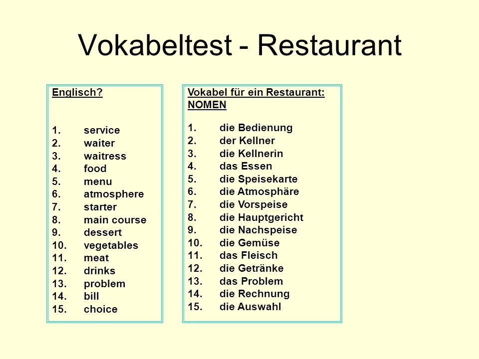 Vokabeltest - Restaurant