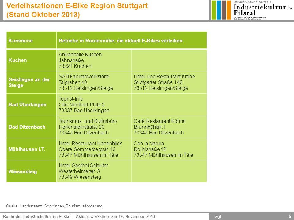 Verleihstationen E-Bike Region Stuttgart (Stand Oktober 2013)