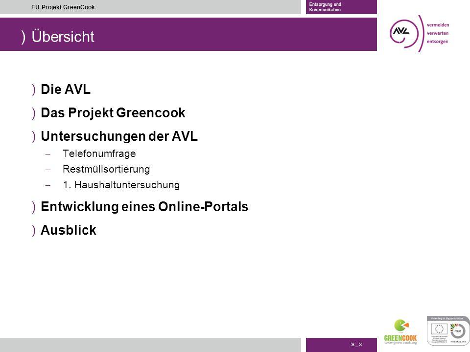 Übersicht Die AVL Das Projekt Greencook Untersuchungen der AVL