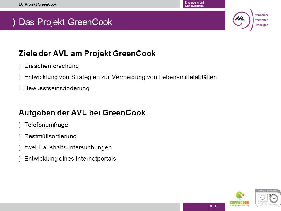 Das Projekt GreenCook Ziele der AVL am Projekt GreenCook