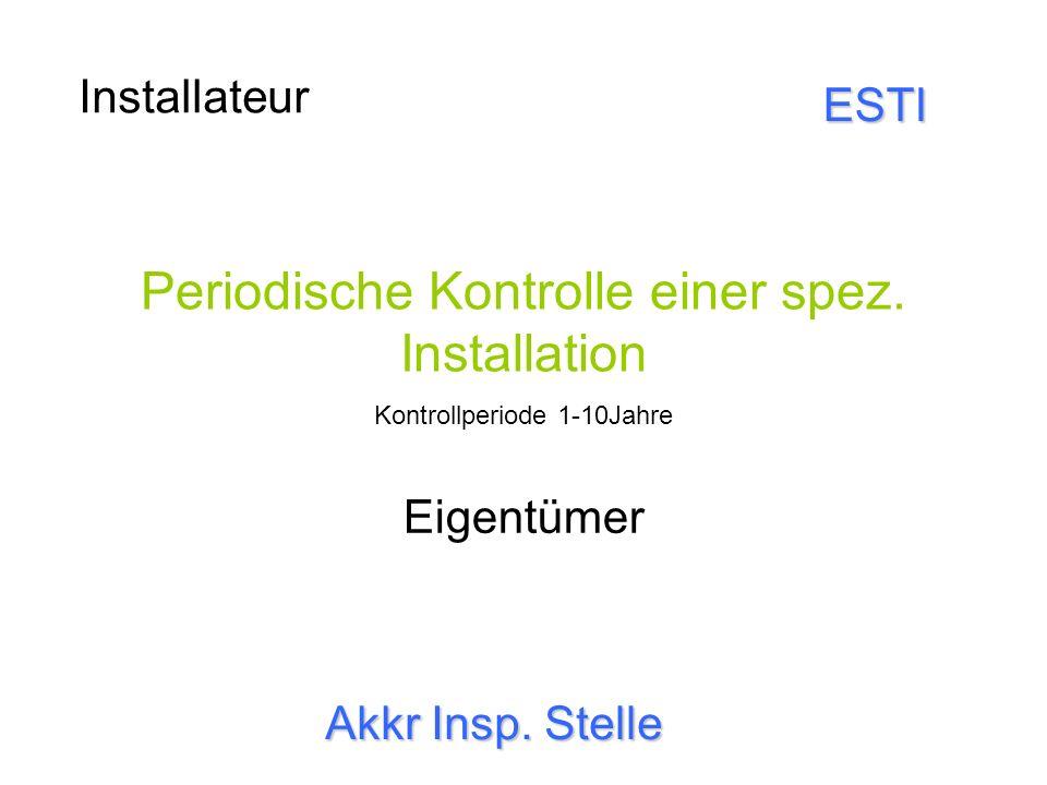 Periodische Kontrolle einer spez. Installation