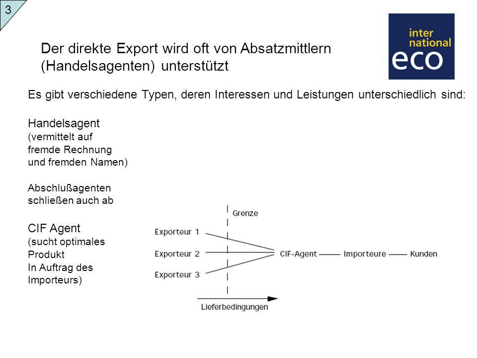 Der direkte Export wird oft von Absatzmittlern