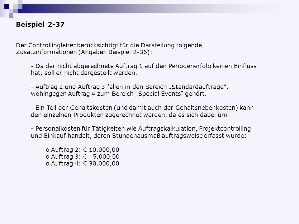 Beispiel 2-37 Der Controllingleiter berücksichtigt für die Darstellung folgende Zusatzinformationen (Angaben Beispiel 2-36):