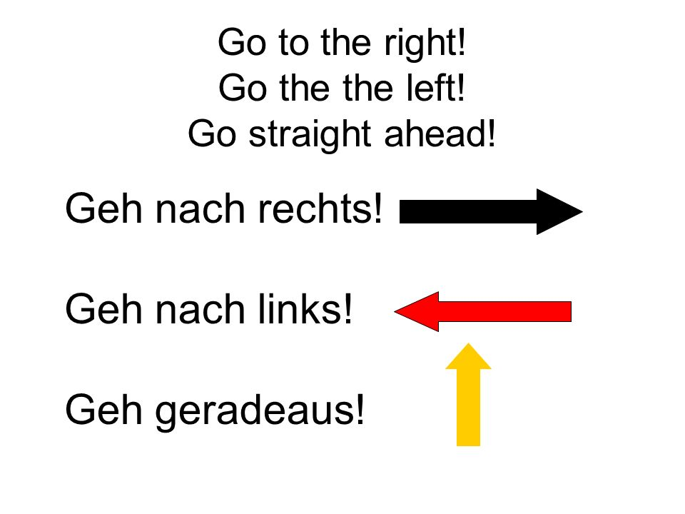 Go to the right! Go the the left! Go straight ahead!